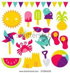 A retro vector illustration of cute summer time fun design clip arts like bunting, sun, ice cream, ice lolly, pineapple, pinwheel, butterfly, sunglasses, sandal, crab, fish, watermelon, beach ball.