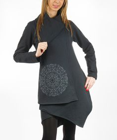 Another great find on #zulily! Black Medallion Organic Toggle Jacket - Plus Too #zulilyfinds