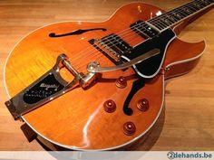 Gibson 2013 ES-195 Figured Trans Amber Vintage Gloss + case - Te koop