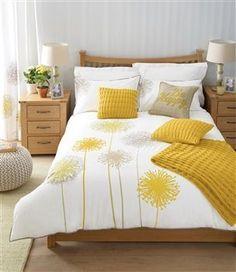 Buy Allium Ochre Bed Set from the Next UK online shop Bedroom Color Schemes, Bedroom Colors, Bright Bedroom Ideas, Dream Bedroom, Home Bedroom, Bedroom Decor, Yellow Bedroom Accessories, Mustard Accessories, Yellow Gray Bedroom
