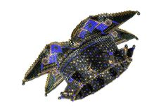 """""""Empress Ming Cuff"""" (inspired by Contemporary Geometric Beadwork) - Delicas, seed beads, drop beads.  Copyright 2013 Barbara Briggs Designs"""