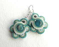 Soutache earrings beaded earrings with green blue and by soStudio