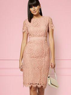 NY&C: Fabiola Lace Sheath Dress - Eva Mendes Party Collection White Plus Size Dresses, Eva Mendes, Blush Dresses, Dress Out, Lace Sheath Dress, Party Dresses For Women, Pencil Dress, Petite Fashion, Indian Dresses