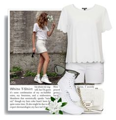 """""""Must Have - White T-Shirt"""" by fashion-architect-style ❤ liked on Polyvore featuring City Chic, Topshop, GUESS, Ray-Ban and Vans"""