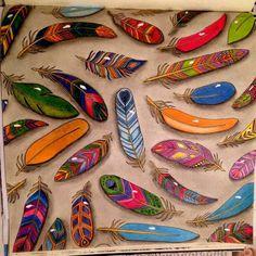 Feathers Enchanted Forest. Penas Floresta Encantada. Johanna Basford, Plumas, Bosque encantado.