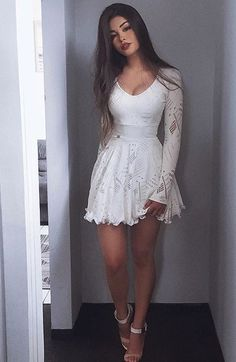 White Long Sleeves Homecoming Dresses, Simple Short Prom Dresses, Cheap A-line Fashion Gowns, Semi Formal Dresses - Source by xlindaschax - Long Sleeve Homecoming Dresses, Cheap Short Prom Dresses, Sexy Dresses, Cute Dresses, Fashion Dresses, Formal Dresses, Party Dresses, Long Sleeve Short Dress, Petite Dresses