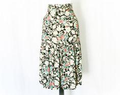 Vintage 80s Does 30s Art Deco Floral Trumpet Skirt S - PopFizzVintage