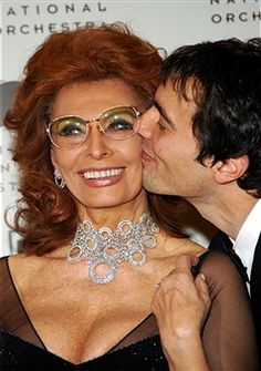 Sophia Loren and Carlo Ponti Jr. during Sophia Loren and Martha Stewart Attend the Russian National Orchestra's 15th Anniversary at St. Regis Hotel in New York City, New York, United States.
