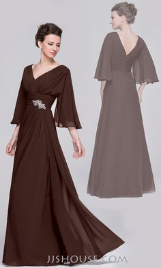Make an elegant entrance in this chiffon mother of the bride dress. #motherdress #jjshouse #chiffon  #longsleeves