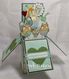 Stampin' Sarah! New Baby Card in a box pop up using Stampin' Up!'s Baby We've Grown and Zoo Babies