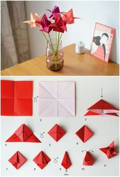 origami tulip – 40 Origami Flowers You Can Do Related Post Tulip Negro Hero – Heather Edwards Fotografí. Origami Flowers Step by Step Tutorials: Origami is magical in true sense. Diy Origami, Origami Star Box, Origami Folding, Paper Crafts Origami, Origami Design, Paper Crafting, Ideas Origami, Origami Patterns, Oragami