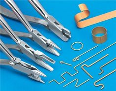 Metal Forming Plier Set Bends Any Shape You Need Our set will make loops, rings, S, C, Z, L and just about any other shape. Set bends strip stock up to 1/32 inch thick and wire up to 3/32 inch. The strange looking plier at the top of the photo will even bend hardened music wire. Made of polished stainless steel with box joints that keep jaws in alignment. Orthodontists use these and pay about $38.00 each from dental supply houses.