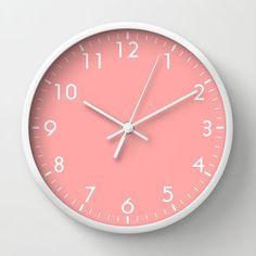 Coral Pink Wall Clock by BeautifulHomes   Society6
