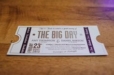 Movie themed wedding invite in the style of a cinema ticket.