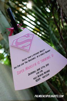 Super Girl SuperGirl Birthday Invitation by palmbeachpolkadots, $2.25