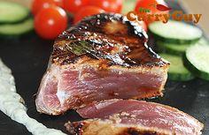 Goan Seared Tuna Steaks with a Tamarind Crust and Yogurt Dressing - So quick and easy to make.