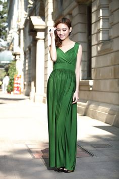 Emerald Green Wedding Party Maxi Dress Evening Dinner Formal Gown Elegant Ball Gown bridesmaid dress Gown on Etsy, $35.00
