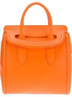 Oversized Handbags - Orange leather 'Heroine' bag by Alexander McQueen, Farfetch, £1725.