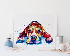 Beagle Dog Colorful Art Print Print of Original by WeekdayBest