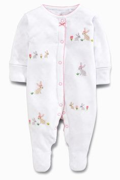 Babygrows & Playsuits First Size 0-3 High Quality Set Of 2 Next Bunny Baby Grows Sleepsuits Girls