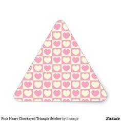 Pink Heart Checkered Triangle Sticker