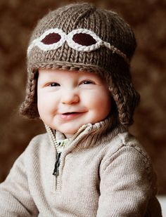 """New Knit Cap line at Therese Chateau """"Wilbur"""" Aviator Hat with Goggles Knitting For Kids, Knitting Projects, Baby Knitting, Crochet Baby, Knit Crochet, Beginner Knitting, Knitting Patterns, Crochet Patterns, Aviator Hat"""