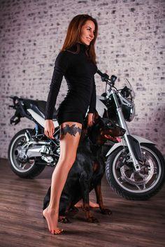 Dog And Puppies Drawings .Dog And Puppies Drawings Biker Chick, Biker Girl, Beaded Dog Collar, Collar Choker, Dog Grooming Shop, Dog Training Treats, Doberman Love, Hot Bikes, Girl And Dog