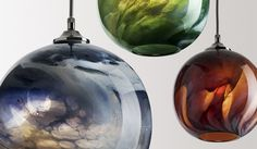Details of marblelised handblown glass light pendants