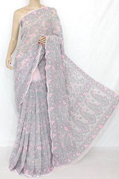 Lucknowi Chikan Saree (W/B-Cotton) 12815 | Buy Lucknow's Chikan ...