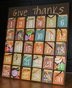 Countdown to Thanksgiving thankfulness board