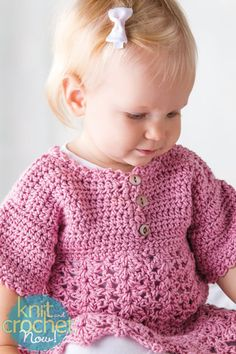 Free Crochet Pattern Download -- This Pink Baby Dress, designed by Candi Jensen, is featured in episode 406 of Knit and Crochet Now! TV. Learn more here: www.knitandcrochetnow.com