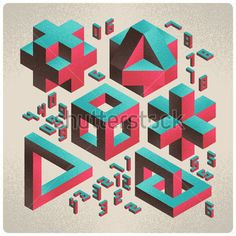 밝은 배경에 숫자 글꼴 아이소메트릭 추상 기하학 디자인 요소 스톡 벡터 - Clipart.me