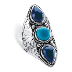 PalmBeach Jewelry Simulated Turquoise & Lapis .925 Silver Boho Ring ($73) ❤ liked on Polyvore featuring jewelry, rings, blue, jewelry & watches, band rings, turquoise jewelry, silver cocktail ring, turquoise cocktail ring and fake rings