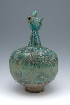 Animal-Headed Ewer Vessel Persian , century Saljuq-Atabeg period, AH / AD Creation Place: Iran Fritware molded relief decoration under turquoise glaze cm in. Art Pictures, Art Images, Art Decor, Decoration, Statues, Harvard Art Museum, Vases, Iranian Art, Objet D'art