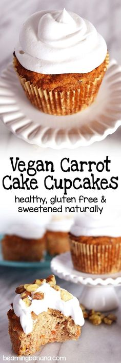 Soft, moist vegan carrot cake cupcakes, topped with a creamy whipped cream! This recipe is healthy, gluten free and sweetened naturally – the perfect spring dessert!
