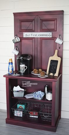 40 Creative Ways to Repurposed an Old Door - Vintage furniture that reuses and recycles old wood doors looks attractive and original. Creative recycled crafts and furniture design projects offer great inspiration for recycled old door tables by Joey Bar Table Diy, Bar Table Design, Coffee Bar Design, Coffee Bar Home, Home Coffee Stations, Bar Tables, Coffe Bar, Table Bench, Coffee Barista
