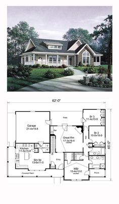 Ranch House Plan 87811 | Total Living Area: 1591 sq. ft., 3 bedrooms and 2 bathrooms. #ranchplan