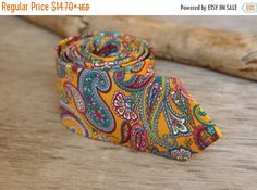 SALE 30% OFF Mustard Yellow Multicolor Paisley by TheBestBoysTies