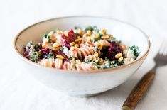 Creamy Fusilli with Beets, Kale, and Toasted Pine Nuts | The Full Helping