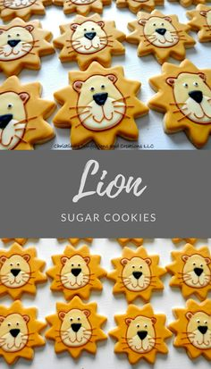 Lion Face Hand Decorated Sugar Cookies Birthday Party Favors #affiliate
