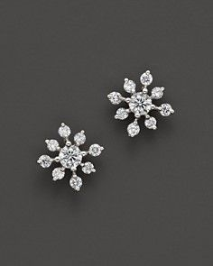 Diamond Snowflake Earrings in 14K White Gold, 0.40 ct. t.w.