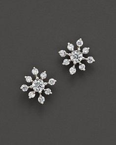 Diamond Snowflake Earrings in 14K White Gold, 0.40 ct. t.w.