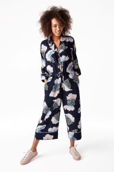 Monki Image 2 of Wide leg jumpsuit in Blue Reddish Dark