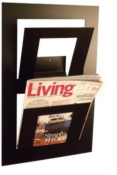 Double Wall Mounted Magazine Rack Black from The Metal House