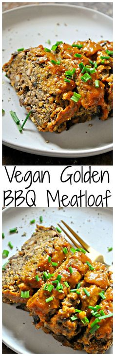 This vegan golden BBQ meatloaf is made from lentils, mushrooms, bread crumbs and vital wheat gluten making it the closest thing to regular meatloaf ever!