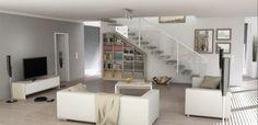 Wohnraum modern gestalten und nutzen. Schräges Regal unter Treppen nach Maß nutzen ideal Stauraum aus!