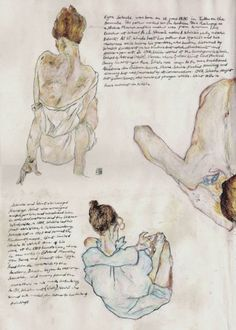 Egon Schiele: [Renderings of figures in sketch book], Line drawings + watercolour. Expressionism.