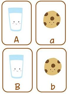 Milk and Cookies Flashcard Freebie - upper and lower case