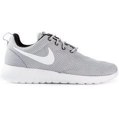 NIKE 'Roshe Run' sneakers ($140) ❤ liked on Polyvore featuring shoes, sneakers, nike, sport, grey shoes, sporting shoes, gray sneakers, nike shoes and sport sneakers