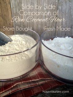 side-by-side-comparison-coconut-flour and how to make it yourself from dried coconut